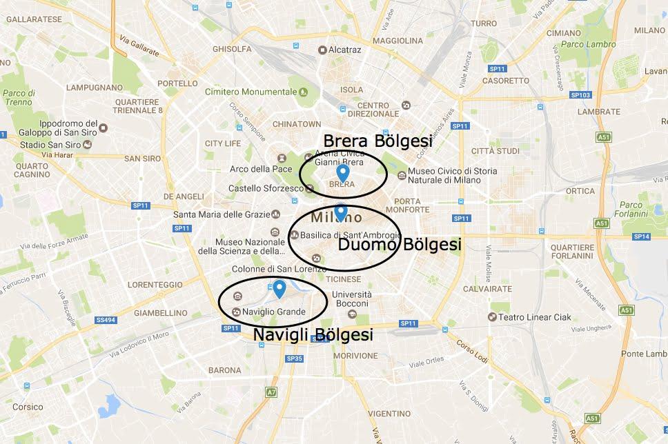 milano'da nerede kalınır harita