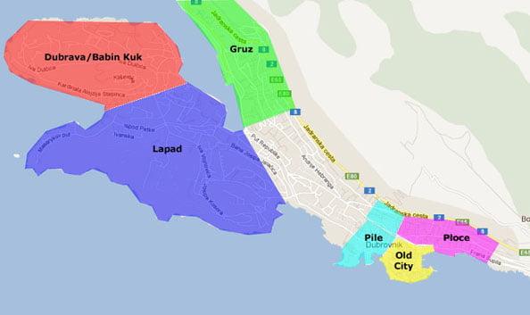 Dubrovnik Tavsiye Edilen Konaklama Bölgeleri