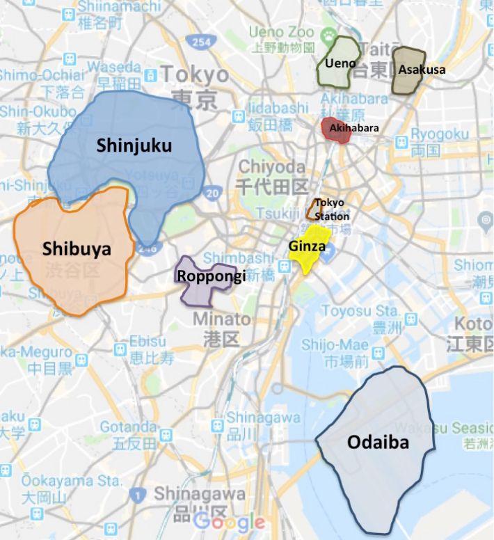 tokyo'da nerede kalınır harita