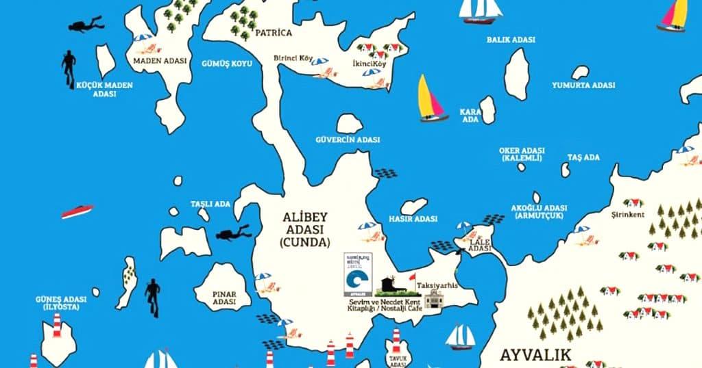cunda adası harita